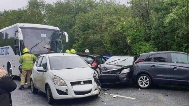 An incident involving seven cars and one coach occurred on the A4067 on June 4