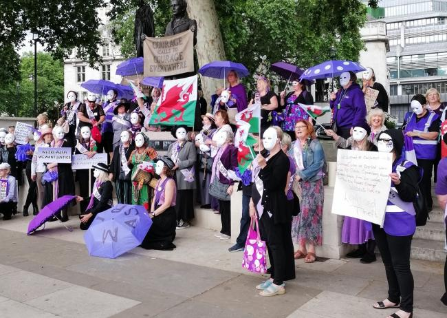 Members of WASPI Ammanford and Amman Valley protesting in London