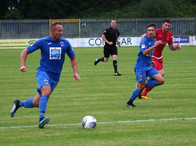 Lee Trundle in action for Haverfordwest County last season